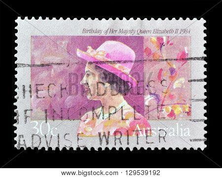 AUSTRALIA - CIRCA 1984 : Cancelled postage stamp printed by Australia, that shows Queen Elizabeth II.