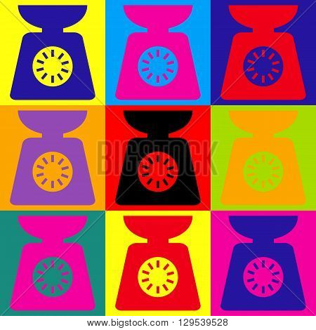 Kitchen scales icon. Pop-art style colorful icons set.