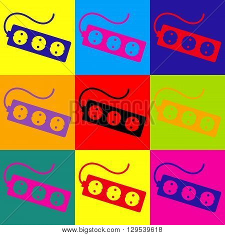 Electric extension, electric plug icon. Pop-art style colorful icons set.