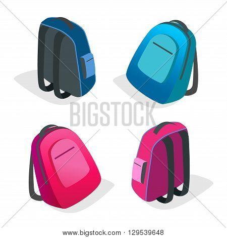 School bag Flat 3d vector isometric illustration