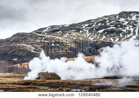 Geothermal Activity At The Strokkur Geyser