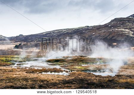 Misty Swamp Beneath A Mountain