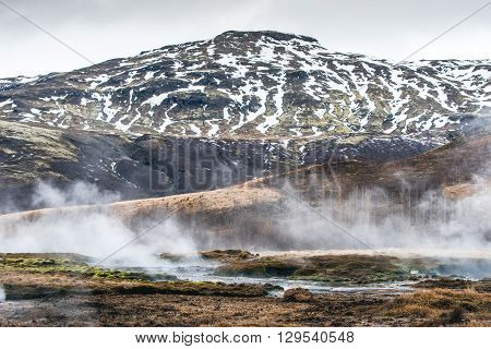 Geothermal River At A Mountain