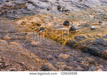 Water Stream On A Lava Field