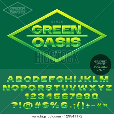 Green and yellow glossy logotype for organic and ecologic shop or club. Vector set of alphabet letters, numbers and punctuation symbols