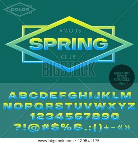 Green and blue glossy emblem for organic and ecologic product store. Vector set of alphabet letters, numbers and punctuation symbols