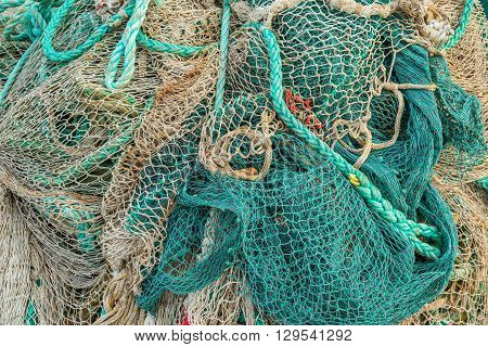 Fishing Net By A Harbor