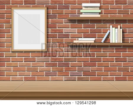 Top table picture frame bookshelf on brick wall background.