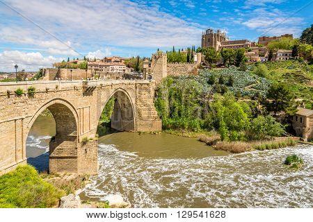 Bridge San Martin over Tajo River in Toledo - Spain
