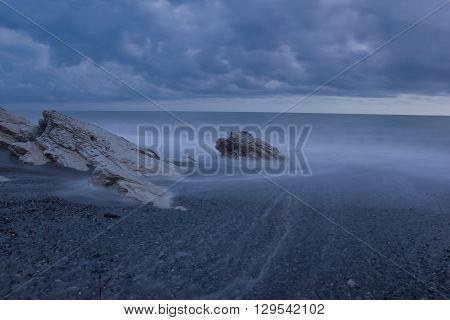 Stormy night on the Black sea, nature of Abkhazia