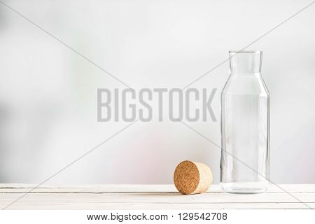 Glass Bottle With A Brown Cork