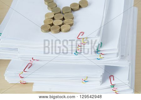 Pile Of Document Have Blur Pile Of Gold Coins