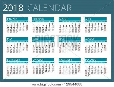 Calendar for 2018. Week Starts Sunday. Simple Vector design