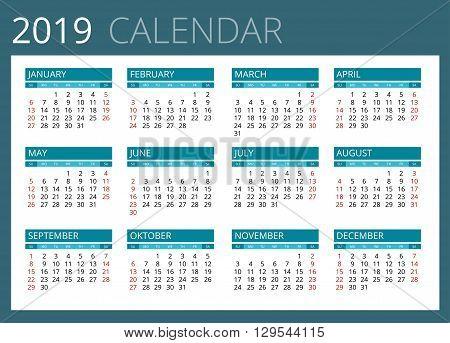 Calendar for 2019. Week Starts Sunday. Simple Vector design