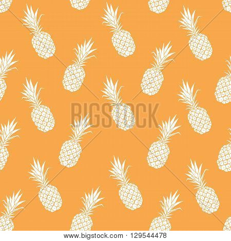 Vector seamless pattern with had drawn pineapple. V