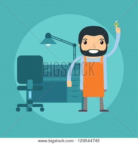 Jeweller holding a ring with brilliant near the workplace. Vector illustration