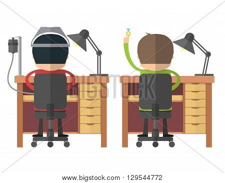 The jewelers at work. Back view. Craftsmen at workbench. Vector illustration