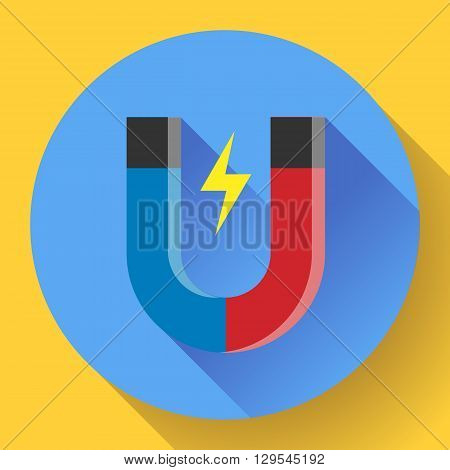 Vector icon horseshoe magnet. Symbol magnetism magnetizing attraction. Concept of physics icon, science, education. Flat design style.