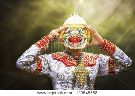 Thailand culture Dancing art in masked Khon hanuman that high classical of dance in Siam Bangkok thai ,india,cambodia asia story show