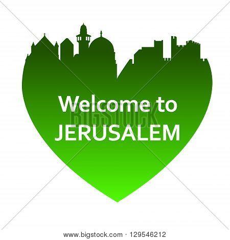 Vector illustration of Jerusalem skyline in heart shape. Welcome to Jerusalem