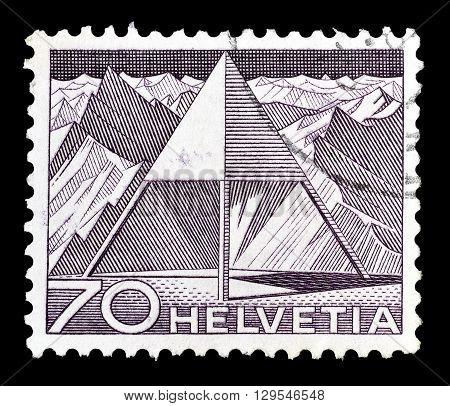 SWITZERLAND - CIRCA 1949 : Cancelled postage stamp printed by Switzerland, that shows Triangulation point.