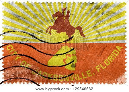Flag Of Jacksonville, Florida, Old Postage Stamp