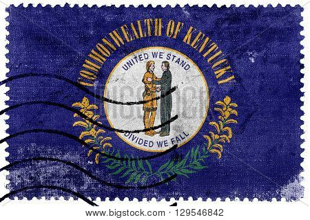 Flag Of Kentucky State, Old Postage Stamp