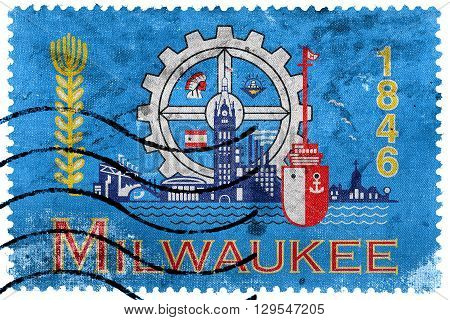 Flag Of Milwaukee, Wisconsin, Old Postage Stamp