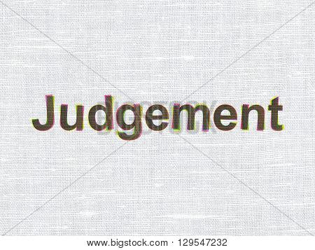 Law concept: CMYK Judgement on linen fabric texture background