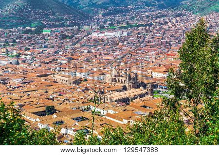 Aerial view of the city of Cusco with The Cusco Cathedral and the Plaza de Armas Cusco Peru