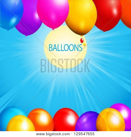 Colorful Balloons Over Blue Sky with Sun Sunrays and Text Background