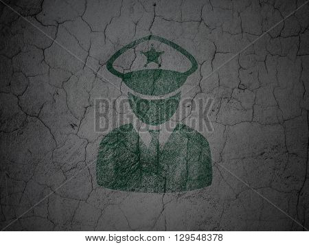 Law concept: Green Police on grunge textured concrete wall background