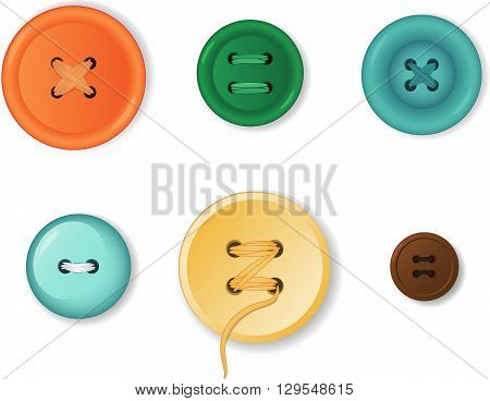 Set of realistic clothing buttons, EPS8 vector illustration