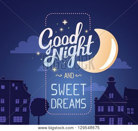 Vector illustration of silhouette of night city street on dark blue sky background with wish and big moon. Art design for web site advertising banner poster flyer brochure board card paper print.