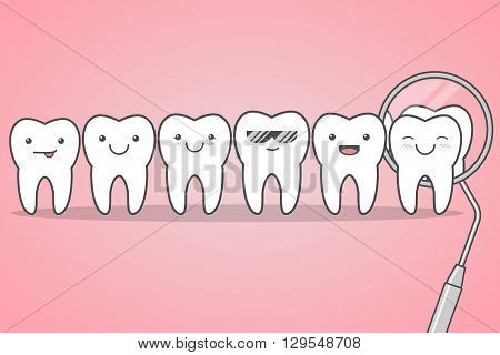 Happy healthy teeth check at the dentist. Happy cute faces. Funny vector illustration