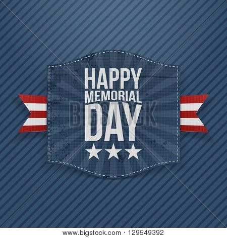Happy Memorial Day realistic Banner with Text and striped Ribbon on blue striped Background. Vector Illustration