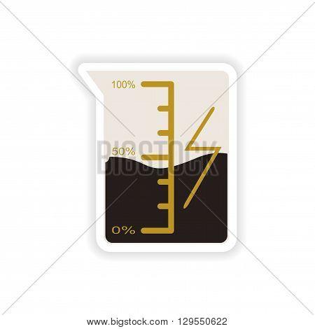paper sticker on white background  beaker energy