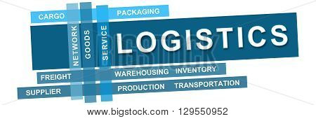 Logistics text written over vibrant blue background.