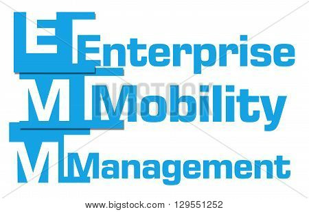 EMM - Enterprise mobility management text over blue background.