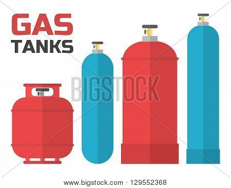 Gas tanks set. Various gas tanks in flat style. Vector illustration