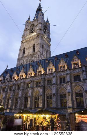 Belfry of Ghent with cloth hall in Belgium during Christmas