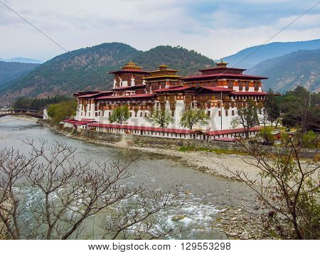 The Paro fort or Dzong in Bhutan is one of the most famous fortified monastaries