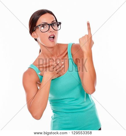 Surprised Woman Pointing At Copy Space