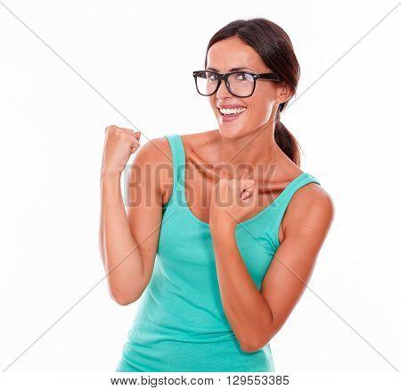 Celebrating Adult Woman Smiling At Camera