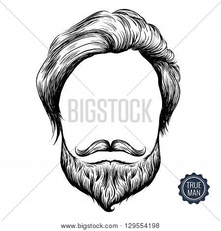 Bearded man icon. Sketch inky illusration of hair mustache and beard. Isolated on white background.