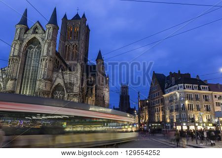 Historical centre of Ghent in Belgium during Christmas