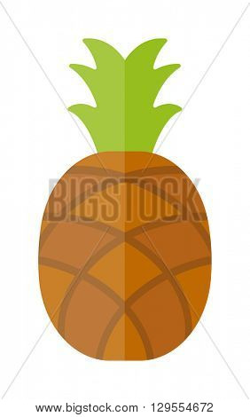 Pineapple isolated tropical healthy fruit, sweet juicy ananas tasty delicious vector.