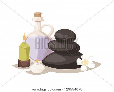Aroma spa stones vector illustration.
