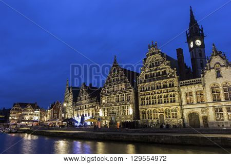 Buildings along the Leie river in the city of Ghent in Belgium