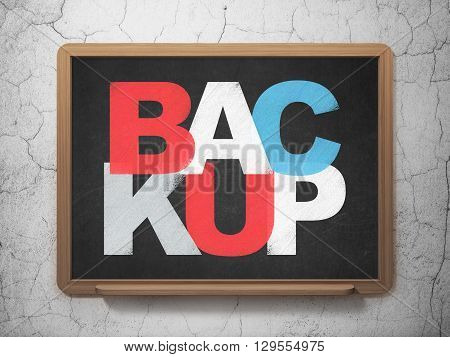 Database concept: Painted multicolor text Backup on School board background, 3D Rendering